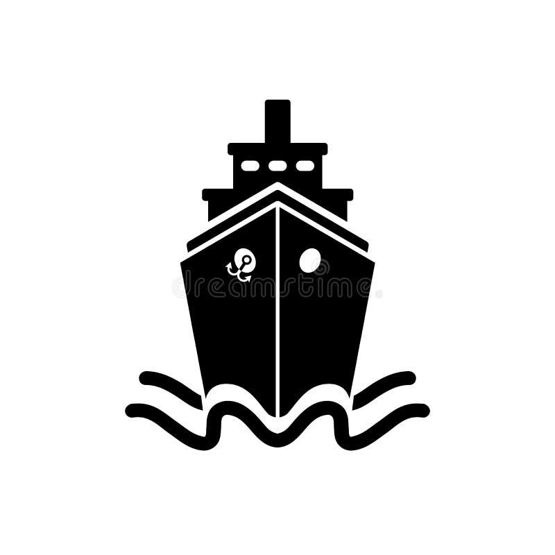 Skeppsymbol i plan stil Svart pictogram på vit stock illustrationer