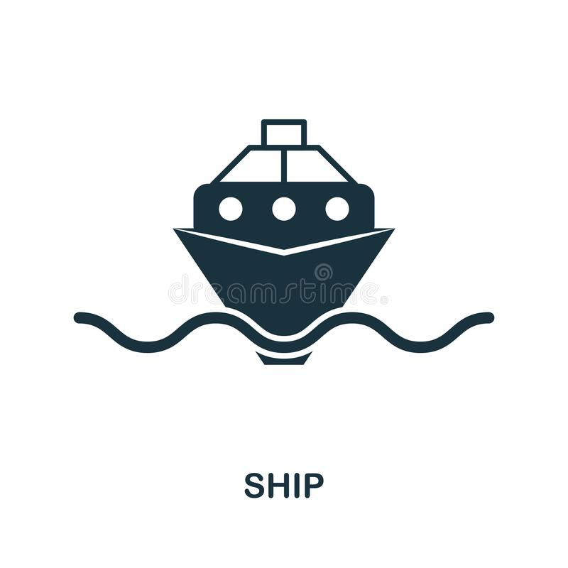 Skeppsymbol i vektor Plan stilsymbolsdesign Vektorillustration av skeppsymbolen pictogram som isoleras på vit stock illustrationer