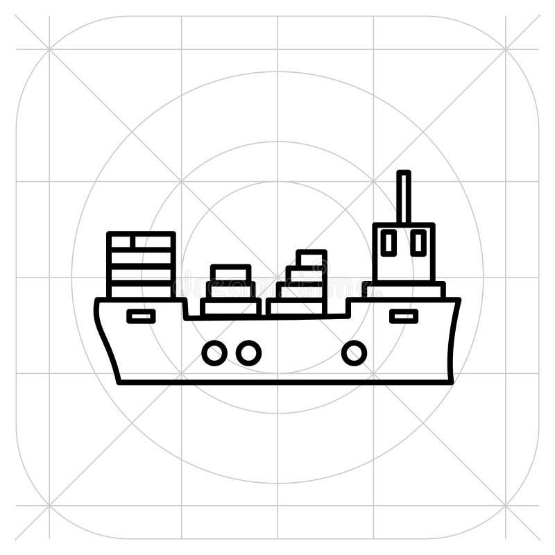 Skeppsymbolslägenhet svart pictogram på grå bakgrund Vektorillustrationsymbol royaltyfri illustrationer
