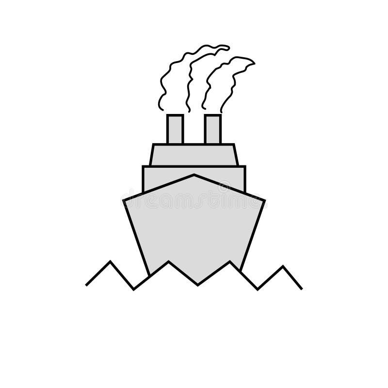 Skeppsymbolsl?genhet svart pictogram p? gr? bakgrund Vektorillustrationsymbol vektor illustrationer