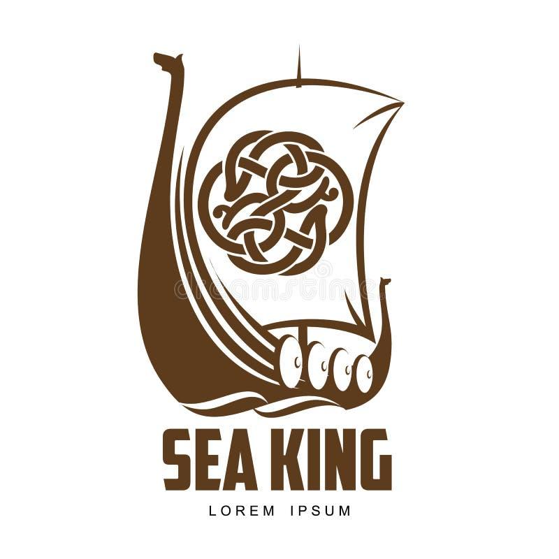 SkeppViking logo stock illustrationer