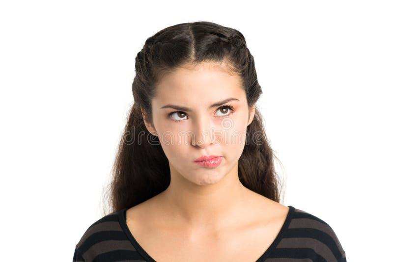 Skeptical girl stock photography