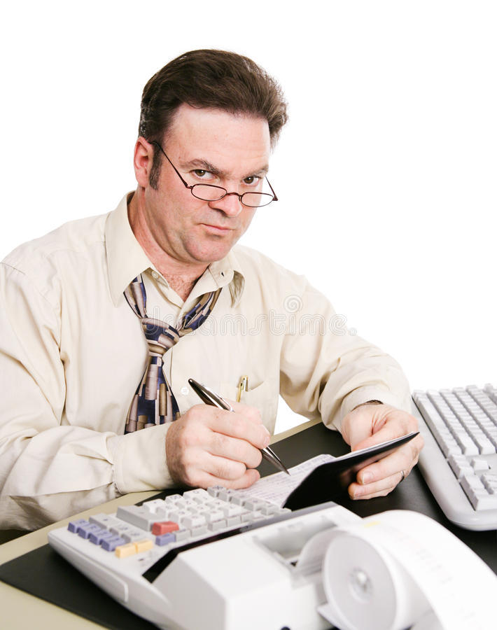 Skeptical Husband with Check Book. Husband balancing the family checkbook and not pleased with the expenses he's found stock photo