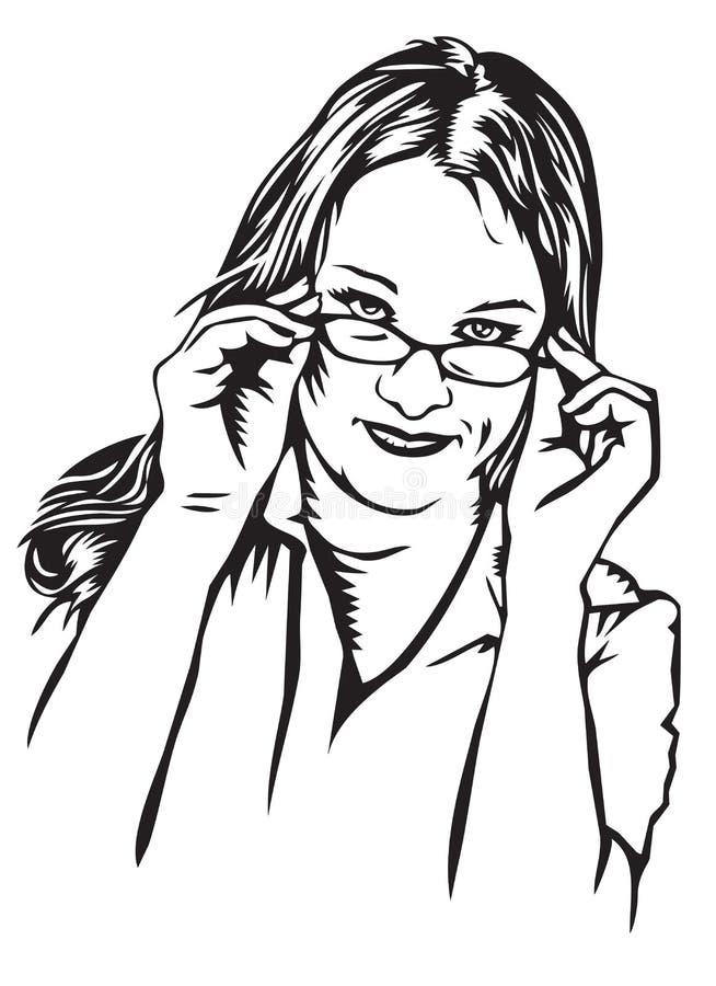 skeptical kvinnabarn för exponeringsglas royaltyfri illustrationer