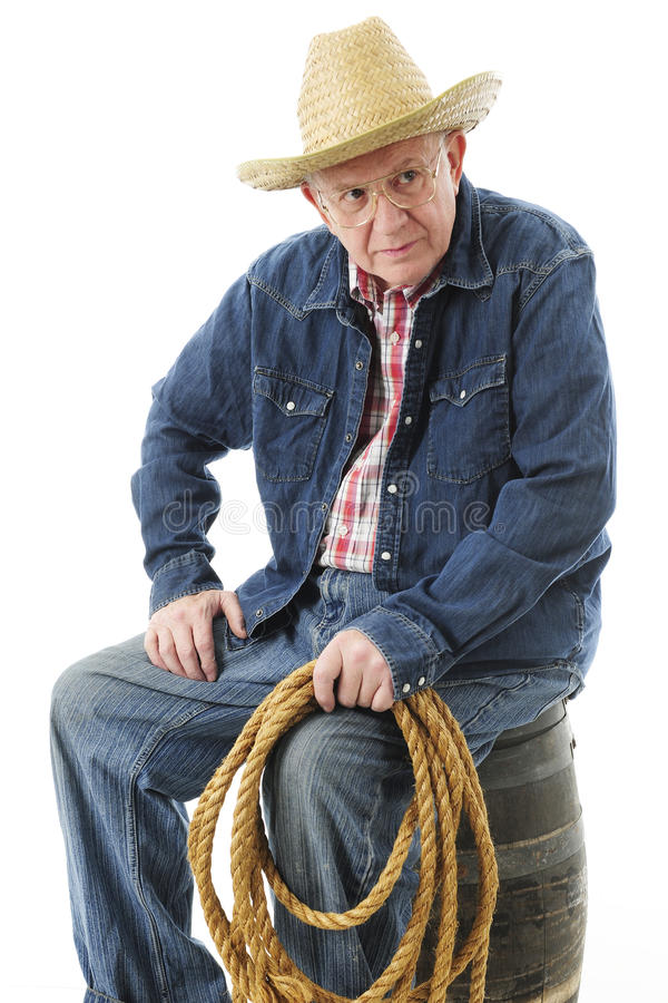 Skeptical Senior Cowboy stock photography