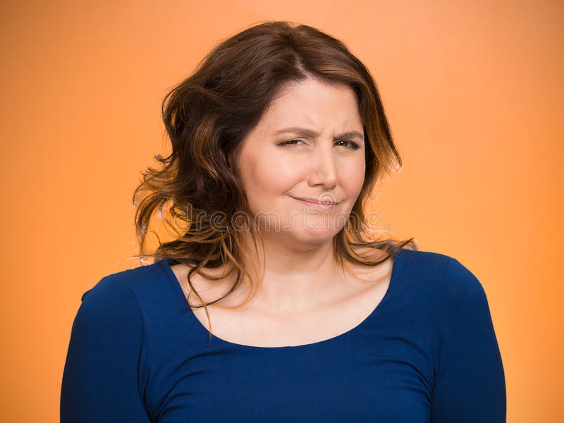 Skeptical woman stock image
