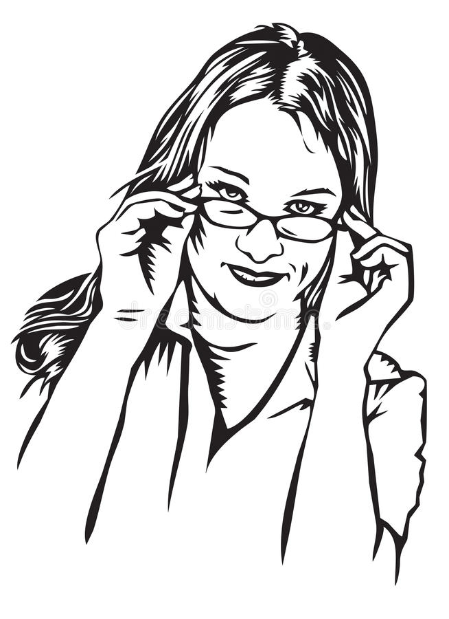 Skeptical young woman with glasses royalty free illustration