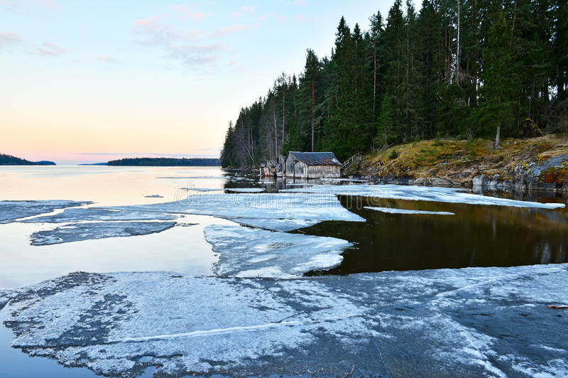 Skerry shore of Ladoga lake with old wooden boathouses at sunset. Remains of ice covers water. Karelia royalty free stock images