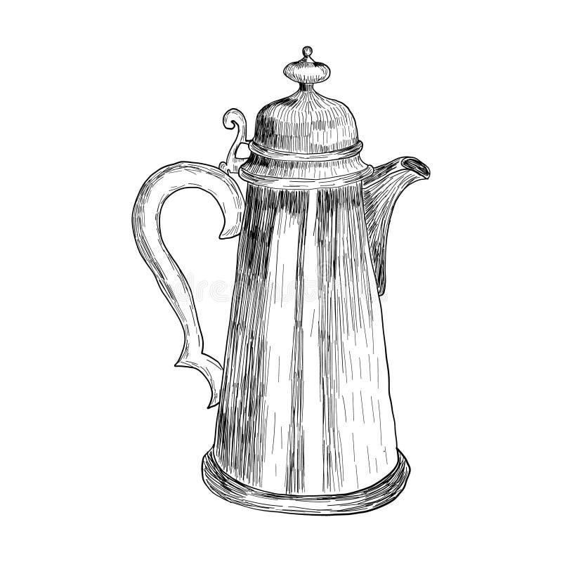 Skertch der Weinleseillustration eines Kaffeetopfes in einer Radierungsart für ein Plakat innerhalb eines Cafés, retsoran vektor abbildung