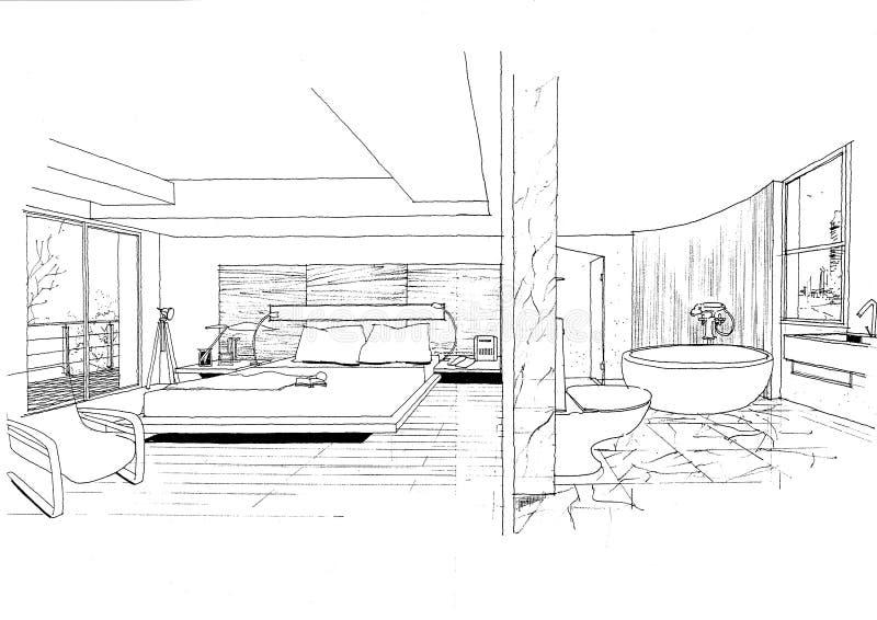 Sketc intérieur d'horizontal de construction d'architecture illustration libre de droits