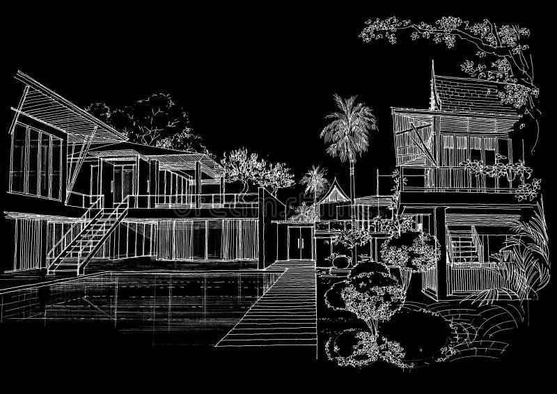 Sketc interior da paisagem da construção da arquitetura ilustração royalty free