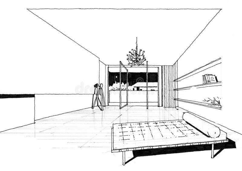 Sketc interior del paisaje de la construcción de la configuración foto de archivo