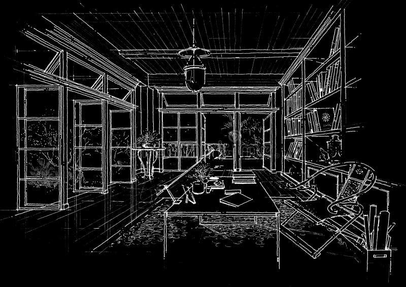 Sketc interior del paisaje de la construcción de la configuración fotografía de archivo