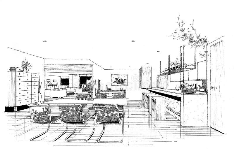 Sketc interior del paisaje de la construcción de la configuración ilustración del vector