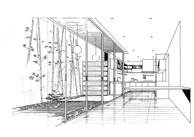 Sketc interior del paisaje de la construcción de la configuración imagenes de archivo