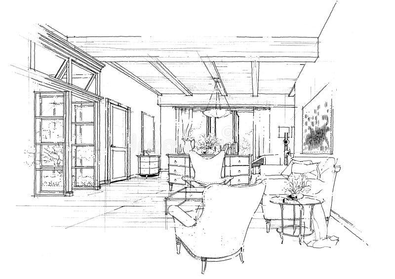 Sketc interior del paisaje de la construcción de la configuración imagen de archivo
