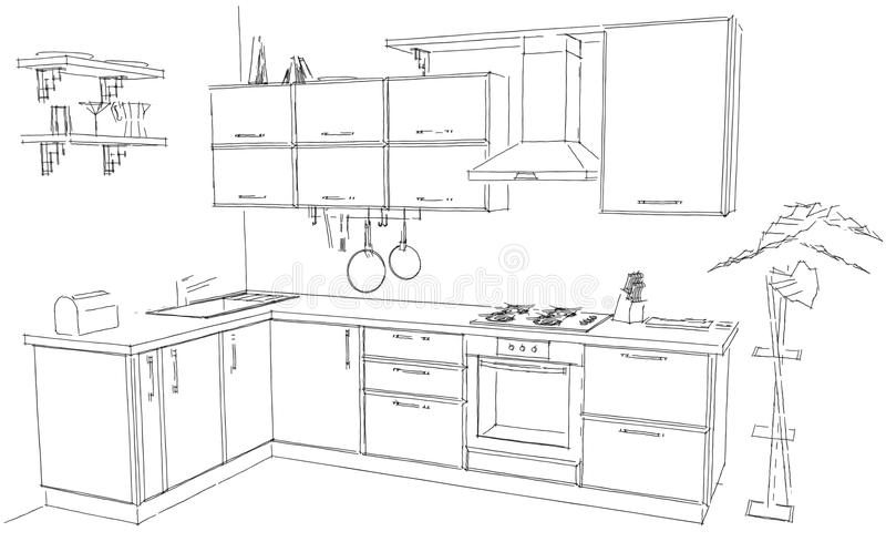Line Drawing Kitchen : Sketch abstract outline drawing of modern corner kitchen