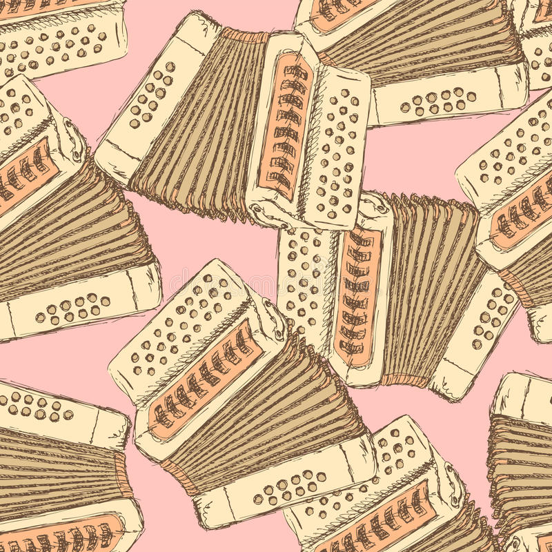 Sketch accordion music instrument stock illustration