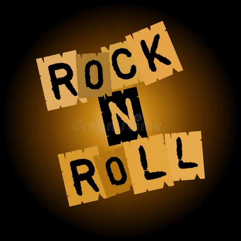 Rock and roll inscription on paper, on a brownish black background royalty free illustration