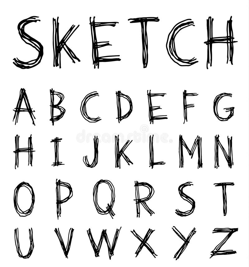 Sketch Alphabet font line - Vector illustration. Alphabet font line set- Vector illustration vector illustration