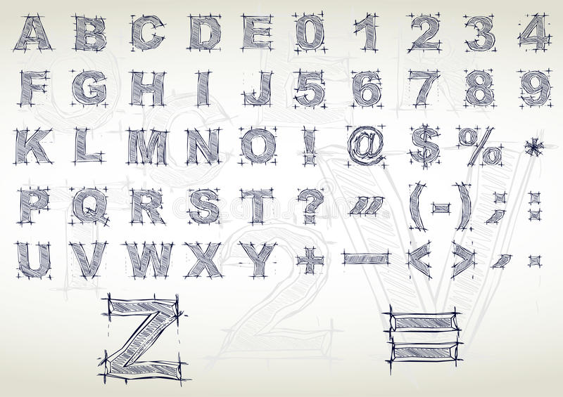 Sketch Alphabet. Vector Illustration Royalty Free Stock Photos