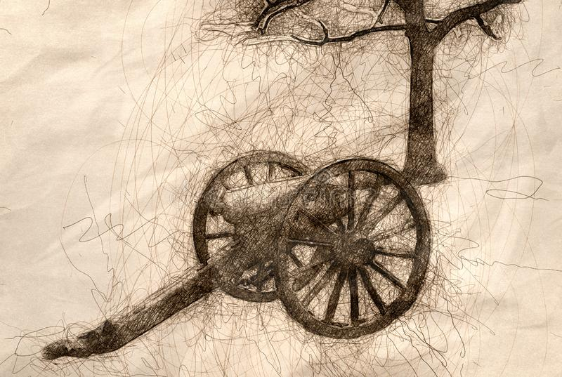 Sketch of an American Civil War Cannon and Nearby Tree. Sketch of an American Civil War Cannon Beside a Nearby Tree stock illustration