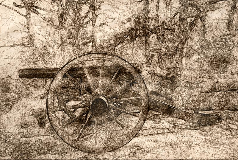 Sketch of an American Civil War Cannon. Standing Among the Sheltering Trees vector illustration
