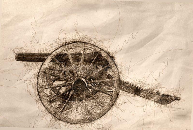 Sketch of an American Civil War Cannon. Sketch of a Solitary American Civil War Cannon vector illustration
