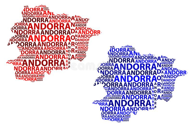 Map of Andorra - vector illustration. Sketch Andorra letter text map, Andorra - in the shape of the continent, Map of Principality of the Valleys of Andorra stock illustration