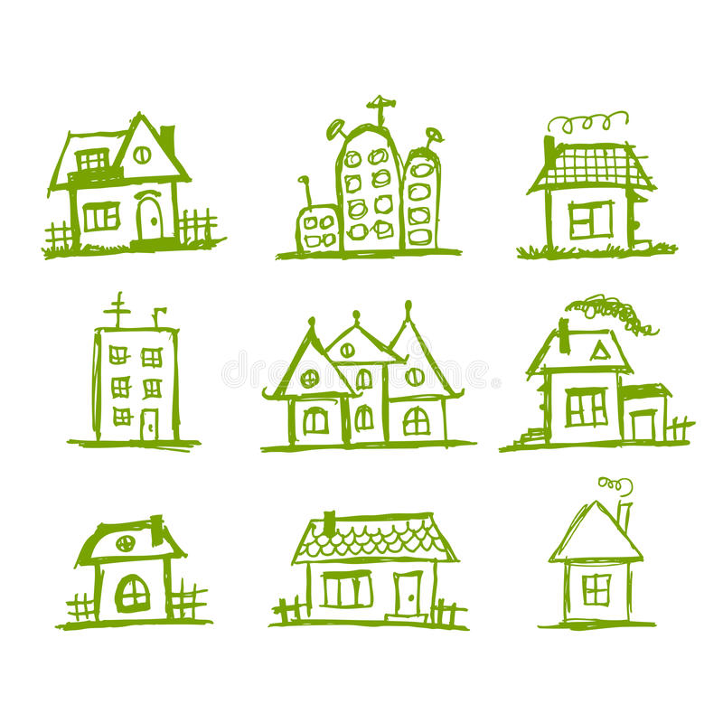 Download Sketch Of Art Houses For Your Design Stock Vector - Image: 19384106