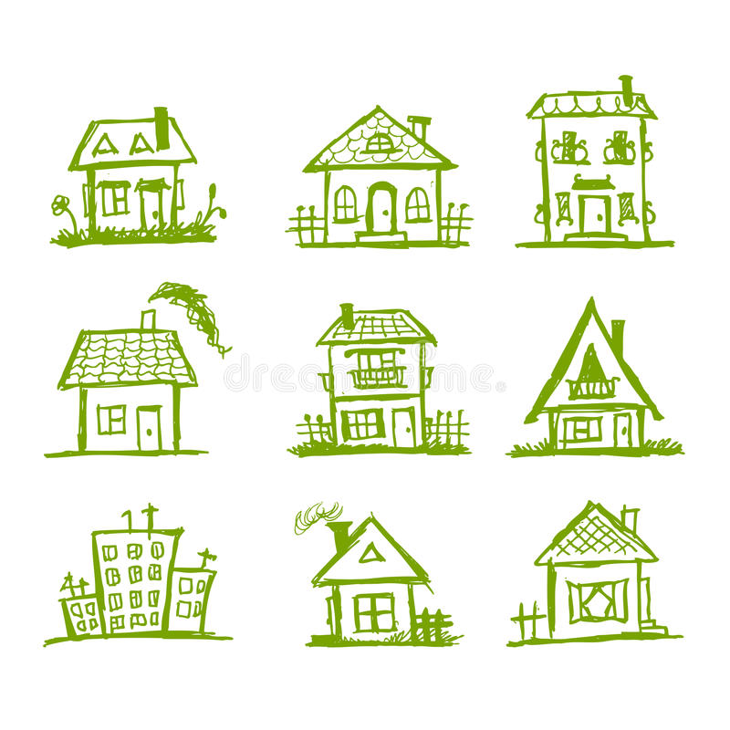Download Sketch Of Art Houses For Your Design Stock Vector - Illustration of neighbors, city: 19384108