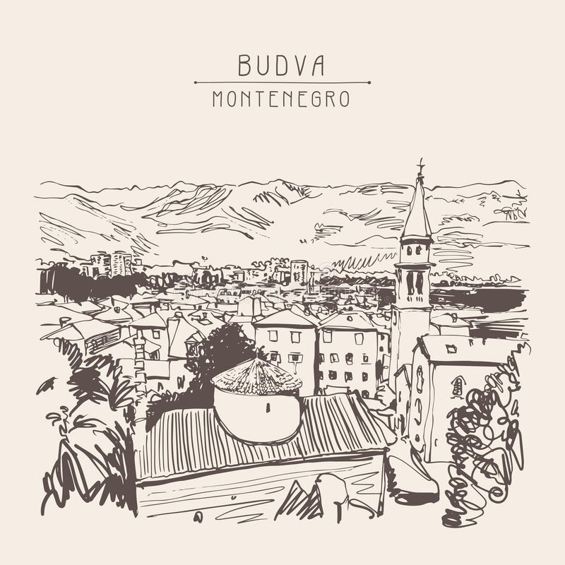Sketch art panorama of Budva Montenegro, vintage travel postcard. Vector illustration royalty free illustration