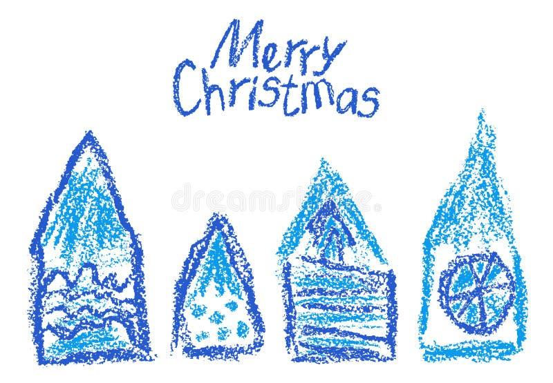 Crayon christmas house set. Like kids hand drawn funny doodle blue design element. vector illustration