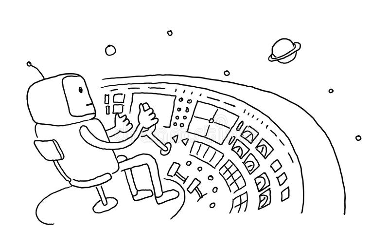Sketch astronaut man robot alien character on flying saucer in space. Flying saucer driver wheel. Hand drawn black line stock illustration