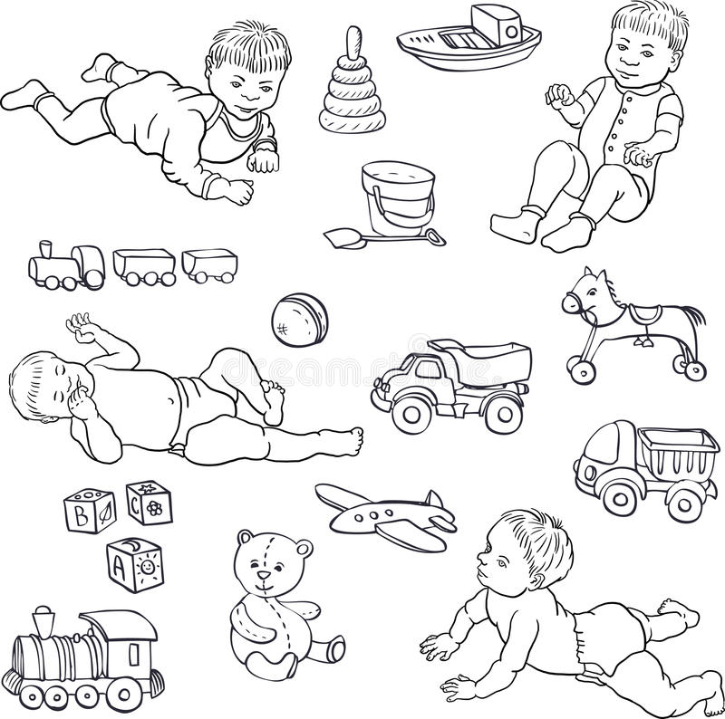 Sketch of babies and toys. Set of line drawing babies and toys, cars,bear,horce,ball, cubes, hand drawn sketch, vector illustration royalty free illustration