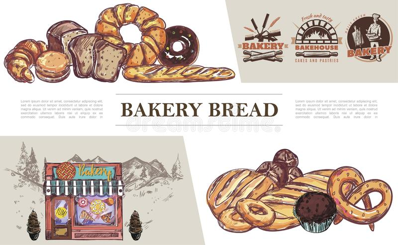 Sketch Baking Products Concept royalty free illustration