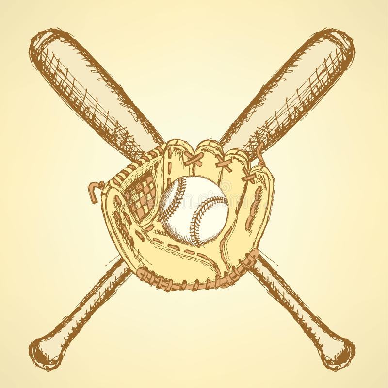 Sketch baseball ball, glove and bat vector illustration
