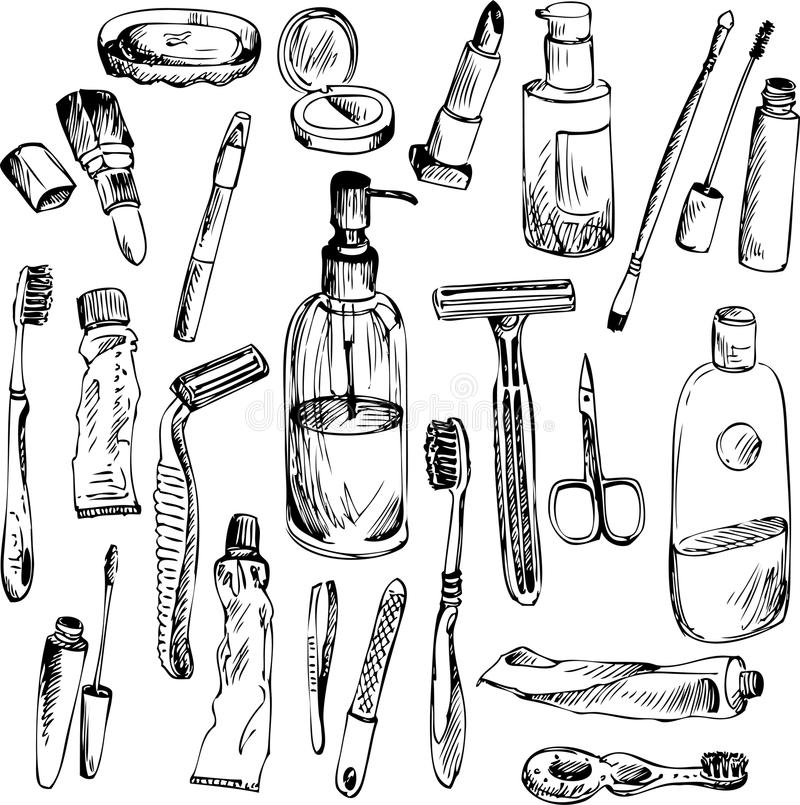 Sketch Of Bathroom Objects Stock Vector. Illustration Of