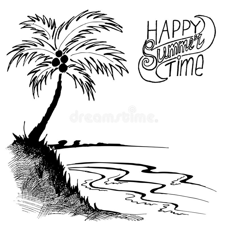 Sketch Of A Beach With Palm Tree Stock Vector - Illustration Of Summer Travel 53800051