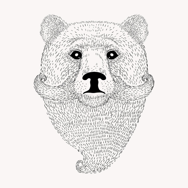Sketch Bear with a beard and moustache. Hand drawn illus vector illustration