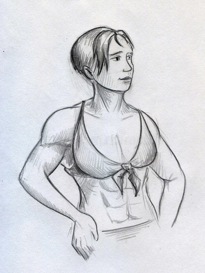 Download Sketch Of A Beautiful Muscular Girl Stock Illustration - Image: 43677937