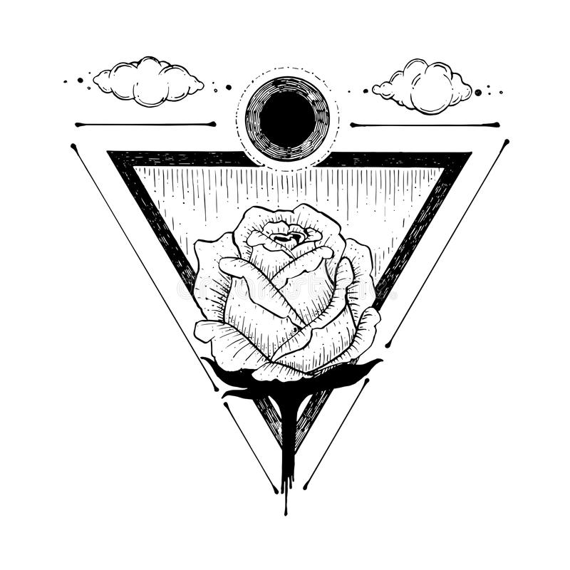 Sketch of a beautiful rose flower and triangle on a white royalty free stock images