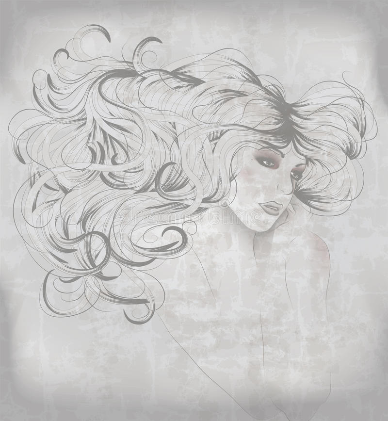 Sketch of beautiful woman with long hair vector illustration