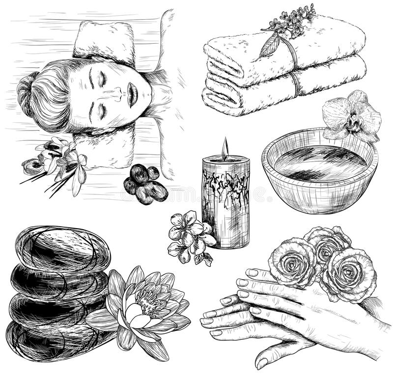 Sketch of Beauty and healthcare set royalty free illustration