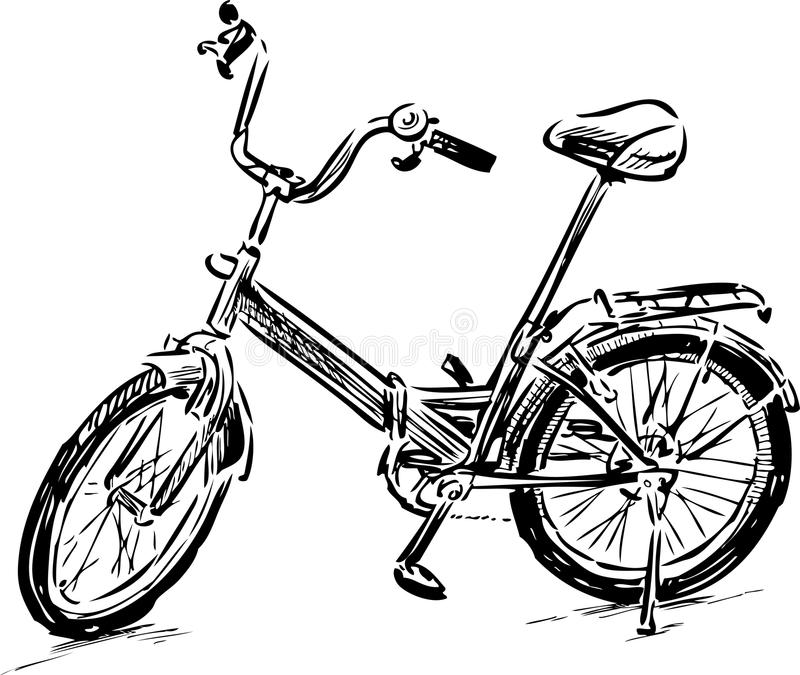 Sketch of a bicycle royalty free illustration