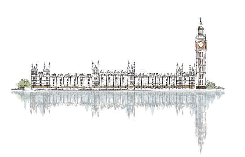 Sketch, Big Ben and Houses of Parliament vector illustration