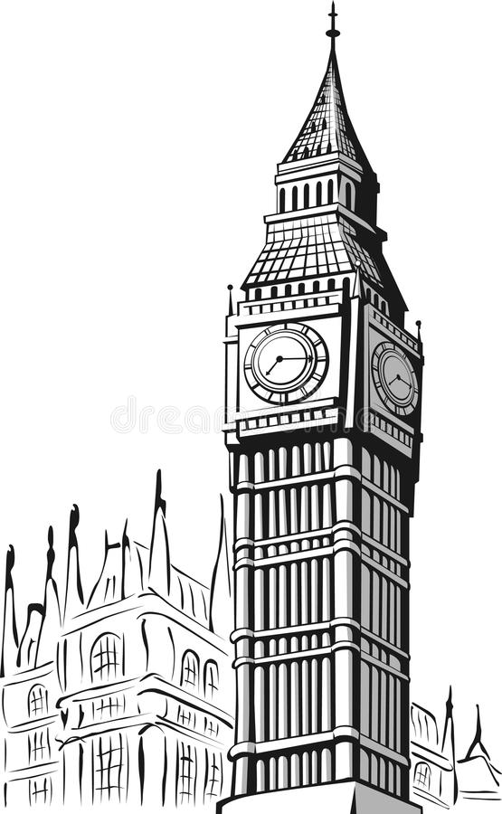 Sketch of Big Ben London vector illustration