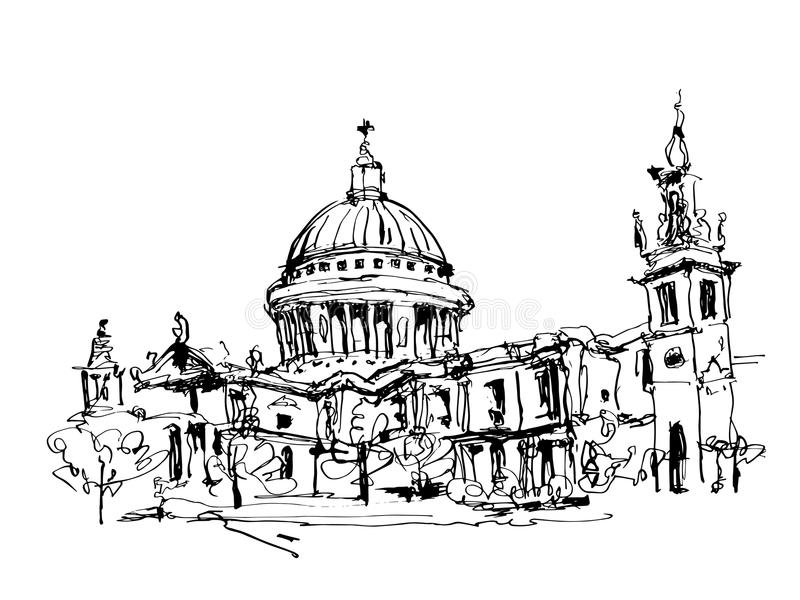 Sketch black and white ink drawing of London top view - St. Paul stock illustration
