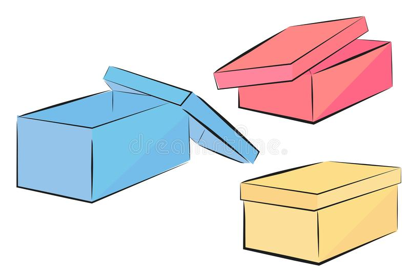 Sketch of blue, pink and yellow perspective shoe box stock illustration