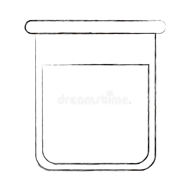 Sketch blurred silhouette image glass bottle for laboratory with liquid solution royalty free illustration